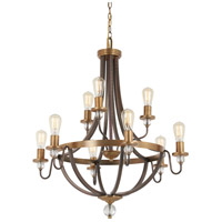 Safra 9 Light 31 inch Harvard Court Bronze with Natural Chandelier Ceiling Light