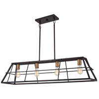 Minka-Lavery 4764-416 Keeley Calle 4 Light 42 inch Painted Bronze with Natural Brushed Brass Island Light Ceiling Light