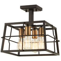 Minka-Lavery 4769-416 Keeley Calle 4 Light 13 inch Painted Bronze with Natural Brushed Brass Semi-Flush Mount Ceiling Light