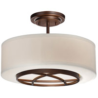 City Club 3 Light 15 inch Dark Brushed Bronze Painted Semi Flush Mount Ceiling Light