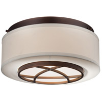 Minka-Lavery 4952-267B City Club 2 Light 15 inch Dark Brushed Bronze Painted Flush Mount Ceiling Light