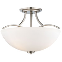 Overland Park 3 Light 17 inch Brushed Nickel Semi Flush Mount Ceiling Light