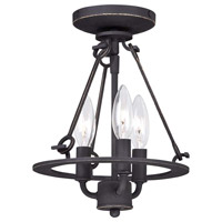 Minka-Lavery Kingsgate 3 Light Semi-Flush Mount in Kona Black With Gold Highlight 4973-269