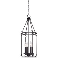 Minka-Lavery Kingsgate 4 Light Pendant in Kona Black With Gold Highlight 4974-269