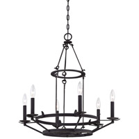 Minka-Lavery Kingsgate 6 Light Chandelier in Kona Black With Gold Highlight 4976-269