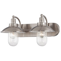Downtown Edison 2 Light 19 inch Brushed Nickel Bath Bar Wall Light