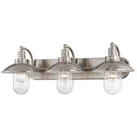 Downtown Edison 3 Light 29 inch Brushed Nickel Bath Bar Wall Light