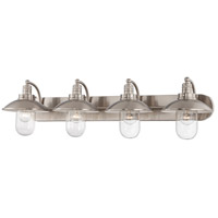 Downtown Edison 4 Light 39 inch Brushed Nickel Bath-Bar Lite Wall Light
