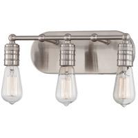 Minka-Lavery 5135-84 Downtown Edison 3 Light 15 inch Brushed Nickel Bath Bar Wall Light