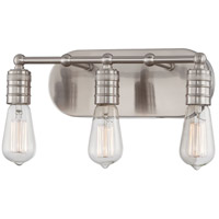 Downtown Edison 3 Light 15 inch Brushed Nickel Vanity Light Wall Light in No Shade