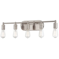 Downtown Edison 5 Light 28 inch Brushed Nickel Bath Bar Wall Light