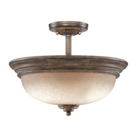 Regents Row 3 Light 15 inch Regents Patina Semi-flush Ceiling Light