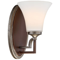 Minka-Lavery 5341-593 Astrapia 1 Light 6 inch Dark Rubbed Sienna with Aged Silver Bath Bar Wall Light