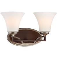 Minka-Lavery 5342-593 Astrapia 2 Light 15 inch Dark Rubbed Sienna with Aged Silver Bath Bar Wall Light