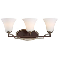 Astrapia 3 Light 24 inch Dark Rubbed Sienna/Aged Silver Bath Bar Wall Light