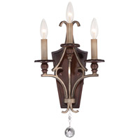 Minka Lavery Gwendolyn Place 3 Light Wall Sconce in Dark Rubbed Sienna With Aged Silver 5350-593