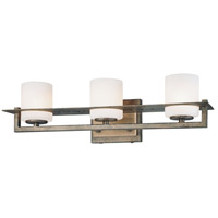 Compositions 3 Light 20 inch Aged Patina Iron w/Travertine Stone Bath Wall Light