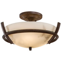 Calavera 3 Light 14 inch Nutmeg Semi Flush Mount Ceiling Light