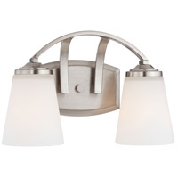 Overland Park 2 Light 13 inch Brushed Nickel Bath Bar Wall Light