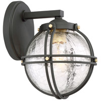 Rond 1 Light 10 inch Black with Honey Gold Highlight Outdoor Wall Lantern