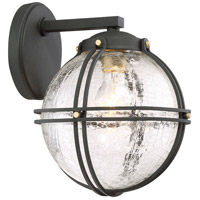 Rond 1 Light 9 inch Black with Honey Gold Highlight Outdoor Wall Lantern