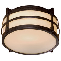Minka-Lavery 72029-A179-PL Andrita Court 1 Light 12 inch Textured French Bronze Outdoor Flush Mount Lantern in GU24 The Great Outdoors