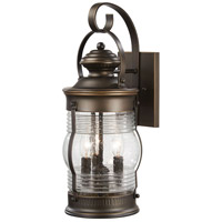 Lynnfield 3 Light 19 inch Oil Rubbed Bronze/Gold Outdoor Wall Mount Lantern