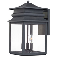 The Great Outdoors by Minka Winward Manor 3 Light Outdoor Wall Lantern in Black 72282-66