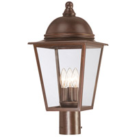 The Great Outdoors by Minka Riverdale Court 3 Light Post Light in Architectural Bronze w/Copper Highlights 72306-291