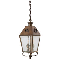 Erenshire 3 Light 8 inch English Brass Outdoor Chain Hung Lantern