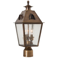 Edenshire 3 Light 19 inch English Brass Outdoor Post Mount Lantern