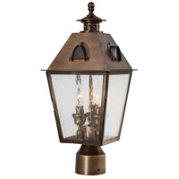 Erenshire 3 Light 19 inch English Brass Outdoor Post Mount Lantern