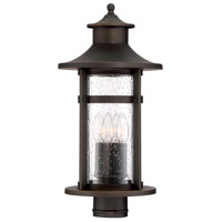 Highland Ridge 3 Light 20 inch Oil Rubbed Bronze with Gold Highlight Outdoor Post Lantern