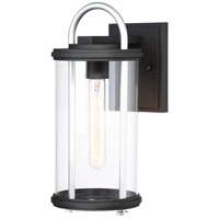 Keyser 1 Light 14 inch Black with Silver Outdoor Wall Mount