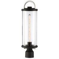 Minka-Lavery 72676-32 Keyser 1 Light 22 inch Black with Silver Accents Outdoor Post Mount Lantern The Great Outdoors