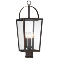 Minka-Lavery 72726-143C Rangeline 4 Light 24 inch Oil Rubbed Bronze with Gold Highlights Outdoor Post Mount Lantern The Great Outdoors