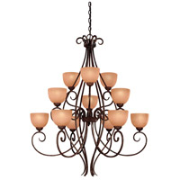 Minka-Lavery Caspian 12 Light Chandelier in Golden Bronze 728-355