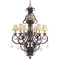 Bellasera 6 Light 32 inch Castlewood Walnut/Silver Chandelier Ceiling Light