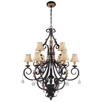 Bellasera 9 Light 37 inch Castlewood Walnut w/Silver Highlights Chandelier Ceiling Light