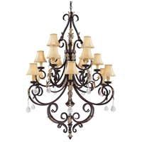 Bellasera 15 Light 43 inch Castlewood Walnut/Silver Chandelier Ceiling Light