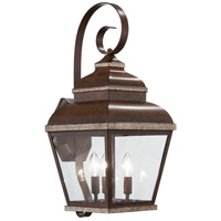 Mossoro 3 Light 23 inch Mossoro Walnut/Silver Outdoor Wall Mount Lantern in Mossoro Walnut w/Silver Highlights