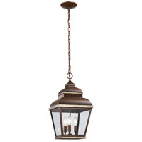 Mossoro 3 Light 10 inch Mossoro Walnut/Silver Outdoor Chain Hung Lantern in Mossoro Walnut w/Silver Highlights