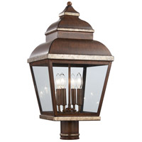 Mossoro 4 Light 23 inch Mossoro Walnut/Silver Outdoor Post Mount Lantern in Mossoro Walnut w/Silver Highlights