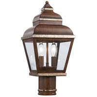 Mossoro 2 Light 17 inch Mossoro Walnut/Silver Outdoor Post Mount Lantern in Mossoro Walnut w/Silver Highlights