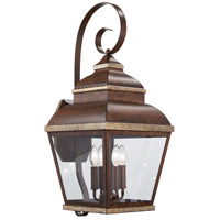 Mossoro 4 Light 27 inch Mossoro Walnut/Silver Outdoor Wall Mount Lantern in Mossoro Walnut w/Silver Highlights