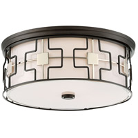 Minka-Lavery 846-105 Signature 3 Light 16 inch Dark Gray with Polished Nickel Flush Mount Ceiling Light