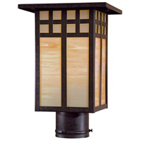 Minka-Lavery 8605-A179 Transitional 1 Light 13 inch Textured French Bronze Outdoor Post Mount Lantern The Great Outdoors