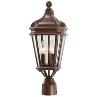 Harrison 3 Light 20 inch Vintage Rust Outdoor Post Mount Lantern, The Great Outdoors