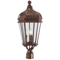 Harrison 3 Light 26 inch Vintage Rust Outdoor Post Mount Lantern