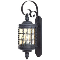 The Great Outdoors by Minka Mallorca 2 Light Wall Lamp in Spanish Iron Textured Black Powder Coat 8881-A39